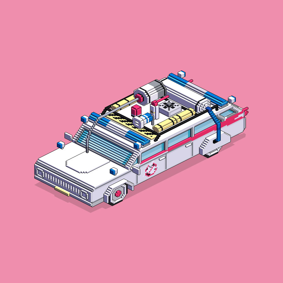 Ghostbusters car isometric.